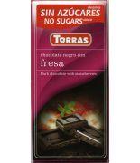 Chocolate negro+ Fresa 75grs s/a , sin gluten .