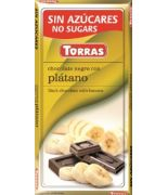 Chocolate negro con banana 75 grs s/a sin gluten .