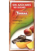 Chocolate negro con Mango 75 grs s/a sin gluten .