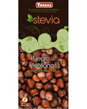 Chocolate STEVIA negro + avellana 125grs .