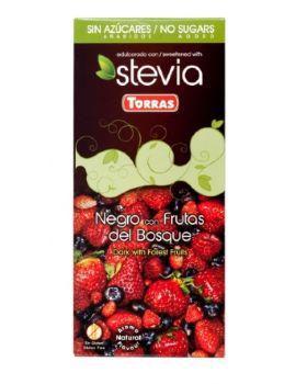 Chocolate STEVIA negro + Frutas del Bosque 125grs .