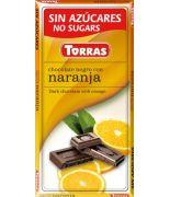 Chocolate negro con naranja 75grs s/a , sin gluten .