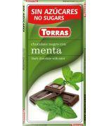 Chocolate negro con Menta 75grs s/a , sin gluten .