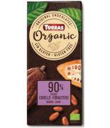 Chocolate BIO Negro 90% cacao Criollo y Forastero 100gr TORRAS