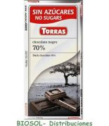 Chocolate negro 72 % cacao 75 grs s/a sin gluten .